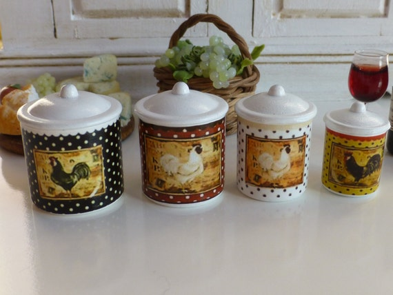 country roosters kitchen metal canisters by