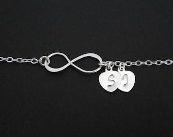 Sterling Silver Infinity Bracelet. Personalized Sterling Silver. Infinity Silver Hearts. Anniversary. Birthday Gift. Infinity Heart Bracelet