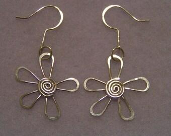 Sterling Silver Flower Earrings w/ Swirl