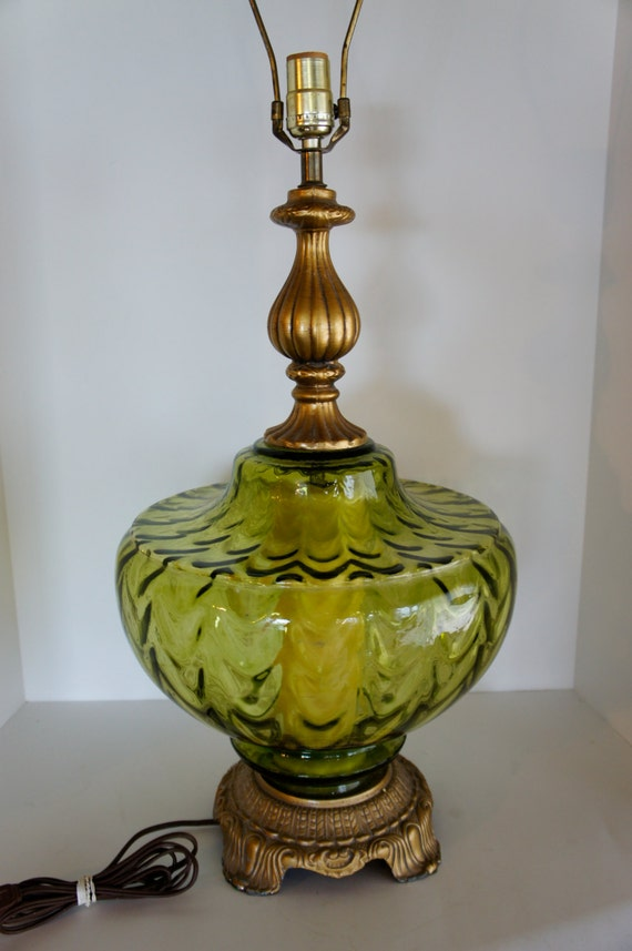 Vintage Table Lamp Green Glass Accent Nightlight Unusual