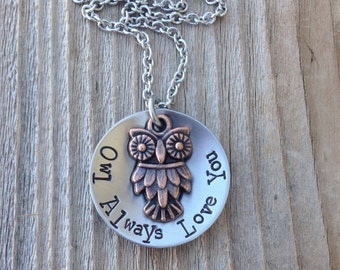 owl always love you necklace handstamped 1 inch stainless steel custom jewelry