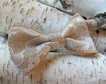 Burlap and Lace Hair Bow