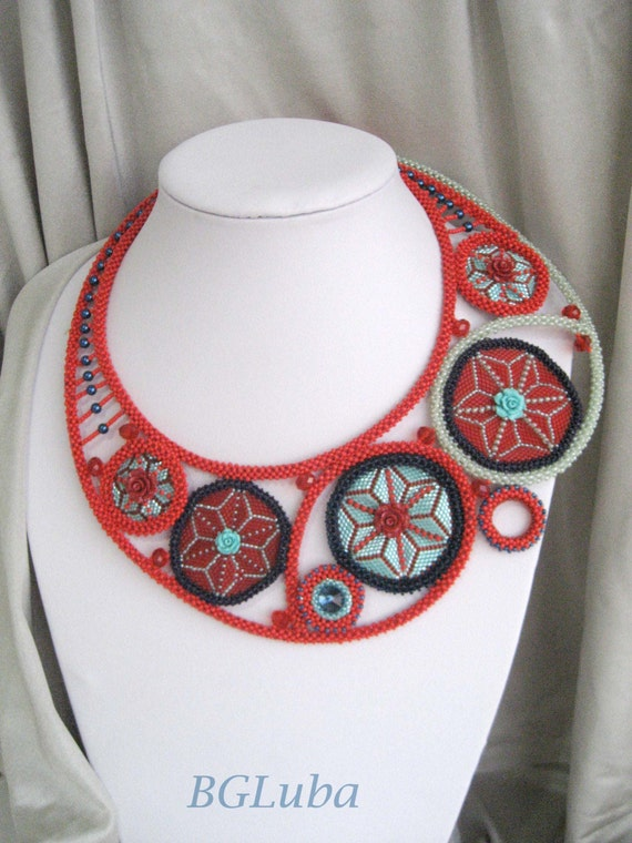 "Beaded Necklace, Challenge ""My Favorite Song"", EBWC, Red, Turquoise, Blue, Rings, Flower  Roses"