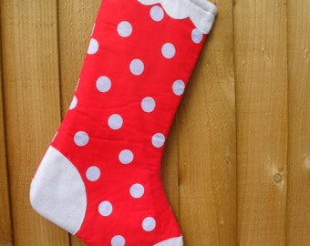 Red and White Christmas / Holiday Stocking. Snow capped Red Christmas Stocking, with large white Polka Dot Spots. Item No. 0234