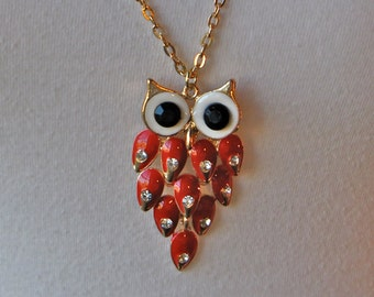 CLEARANCE - Red Owl Necklace