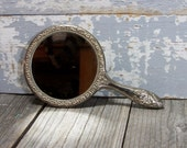 "Large Hand Mirror Silverplated Ornate Victorian Style Make Up Mirror Engraved ""Best Friends Always"" - SexyTrashVintage"