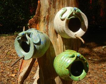 Birdhouse with Frog Stoneware