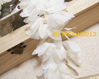 Ivory Shabby Chiffon Lace Trim Oval Leaves 2.936 Inches Wide 1 Yard Costume Headware Supplies