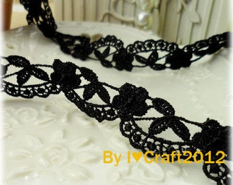 Black Venice Lace Lovely Floral Lace Trim 0.62 Inches Wide 2 Yards Costume Headware Supplies