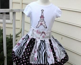 Eiffel Tower outfit Eiffel Tower skirt set Zebra skirt Eiffel Tower applique shirt and twirly skirt set polka dot silver pink black birthday