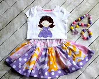 Princess Sofia outfit Birthday outfit Princess skirt chevron polka dot clothing chevron skirt princess sofia applique shirt girls  toddler