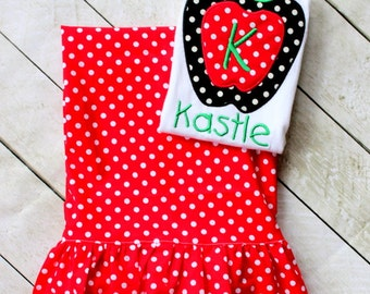 fall outfit apple ruffle pant set red polka dot ruffle pants apple shirt apple outfit girls red apple toddler ruffle pants fall clothing