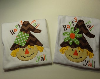 Sibling Fall scarecrow set Brother and Sister matching Happy Fall Y'all  Shirts Scarecrow shirt fall clothing matching outfits chevron