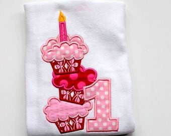 cupcake birthday shirt girls first birthday shirt pink red clothing birthday clothing girl birthday number applique top  birthday shirt set