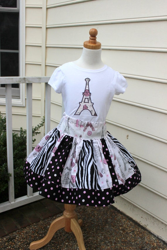 Eiffel tower outfit skirt set zebra