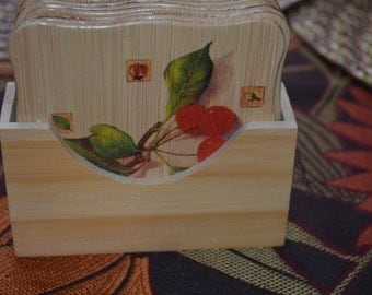 coffe stand ,Six (6) Wooden Coffee Cups Coasters With Square Holder.