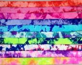 """Tie Dye FOE // 5/8"""" 10 Yards 1 of Each Color // Tie Dye Fold Over Elastic - Hair Ties - Headbands - Tie Dye Hair Ties"""