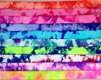 Tie Dye Fold Over Elastic - Hair Accessory Supplies - 2 Yards - Choose Your Color