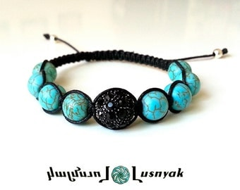 DISCO BALL Shamballa Bracelet with Natural Stones for men and women, guy and girl, stackable and adjustable Lusnyak