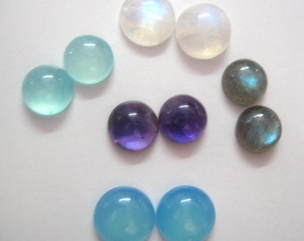 Lot of  Mix Gemstone Labradorite,Blue Chalcedony,Amethyst,Aqua Chalcedony,Rainbow Moonstone 10 mm Round Cabochons