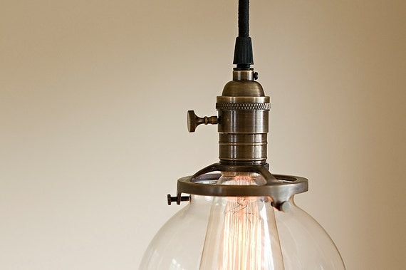 Round Glass Vintage Industrial Pendant Light Fixture 6