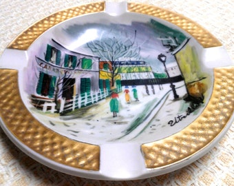 Vintage signed and hand-painted Bavaria Schumann ash tray
