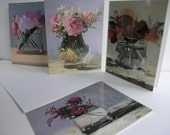 Flower Notecards - Four Images, Set of 8 Cards with Envelopes