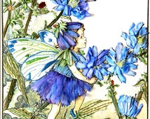Chicory Fairy 1. Silk Embroidery Wall Hanging.  Childrens Bedroom Fairy.   Silk Embroidered Art.