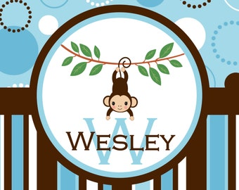 Nursery Rug Personalized Monogrammed Gifts New Baby Gift Nursery Decor Baby Girl Baby Boy Nursery Rug Mat Customized Monkey Nursery Art