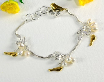 Silver Bracelet with Gold Birds and Pearls – Mixed Metal Bracelet – June Birthday Gift Idea – June Birthstone