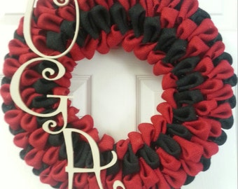 University of Ga bubble burlap wreath