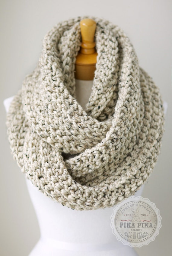 Oversized chunky scarf, chunky infinity scarf in Oatmeal Brown color ...