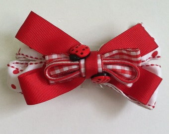 Hairbow in Red and White, ladybug hairbow, headbands,little girls, Baby Headbands, Baby clips, Big Girls bows #HH31