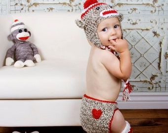 Sock Monkey Hat, Leg Warmers & Diaper Cover Set- Crochet Hat - Leg Warmers - Diaper Cover - Boy or Girl - Photo Prop -Sock Monkey Outfit