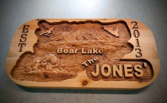Personalized Custom Bear Scene, Sign Carved 3D Rustic Wedding Gift Man Cave Cabin Motorhome Plaque RV Name Plaque Anniversary Custom Design
