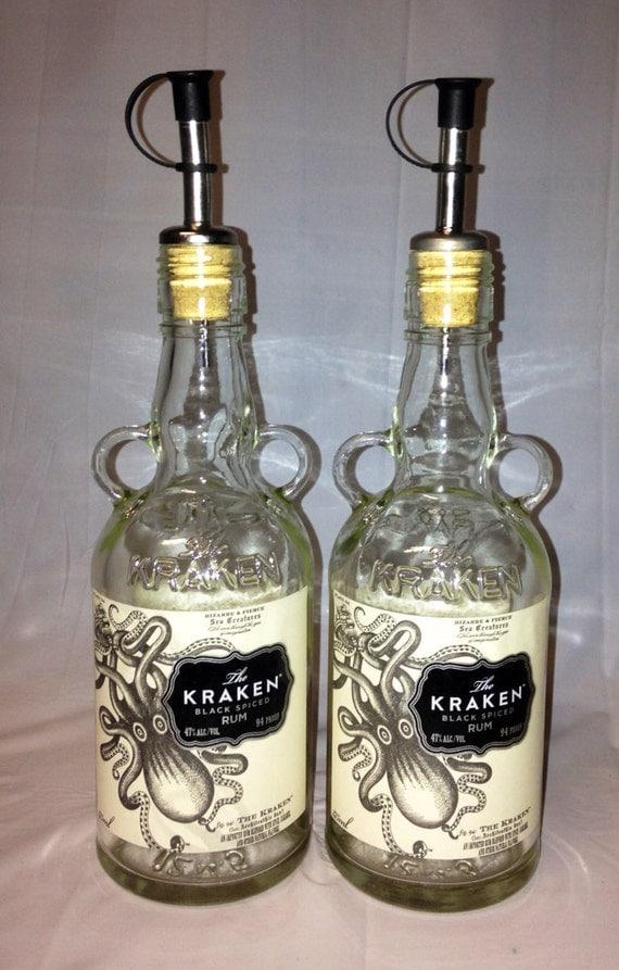 items similar to kraken liquor bottle oil vinegar set recycled glass bottles kitchen decor. Black Bedroom Furniture Sets. Home Design Ideas