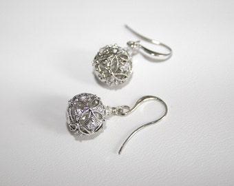 Cubic Zirconia studded filigree ball earrings