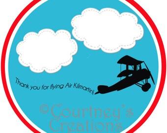 """2"""" Printable Thank You Airplane birthday favor tags"""
