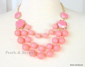Multi Strand Bubble Necklace  Statement Necklace Bib Necklace Pink Candy Necklace
