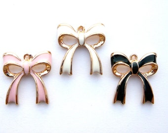 3D Rose Gold Plated Enamel Bow Charm- Choose your color- 1 piece