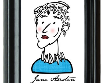 Jane Austen--Typography Art Print 8x10