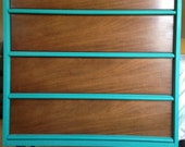 Vintage Mid Century Modern Teal Dresser by  Bassett original finish drawers & legs