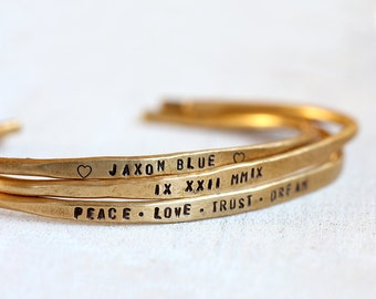 Personalized brass cuffs or sterling silver cuffs hand stamped bracelets