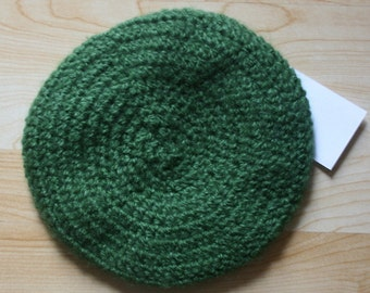 OOAK Forest Green Crochet Beret Ready to Ship