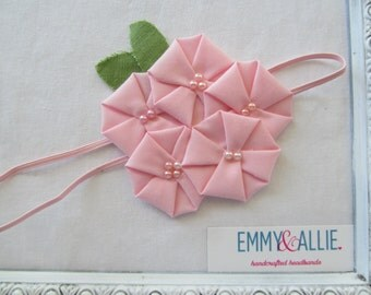 Pink Fabric Flower Headband Baby/Girl/Prop