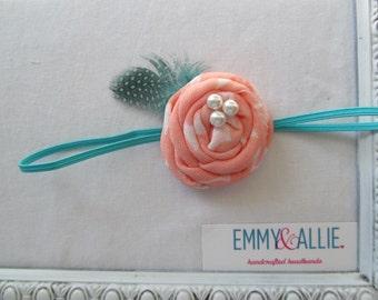 Coral/Peach & Turquoise/Aqua Fabric Flower Headband