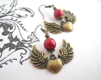 flying heart - earrings