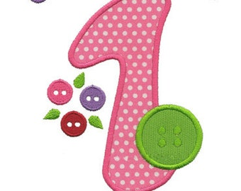 One Cute Button Applique for Machine Embroidery