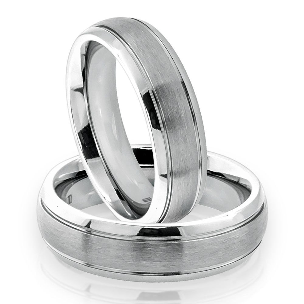his and hers titanium ring titanium wedding band set domed