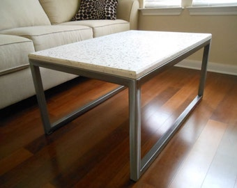 FREE SHIPPING - White concrete coffee table with clear glass aggregate!